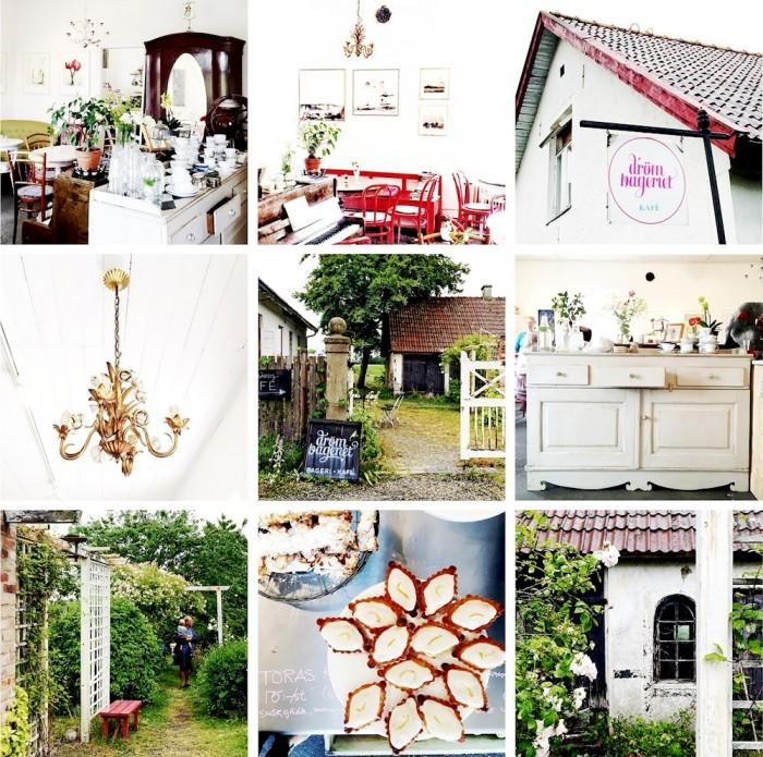 Drömkafé Komstad, interiör, kakor, trädgård