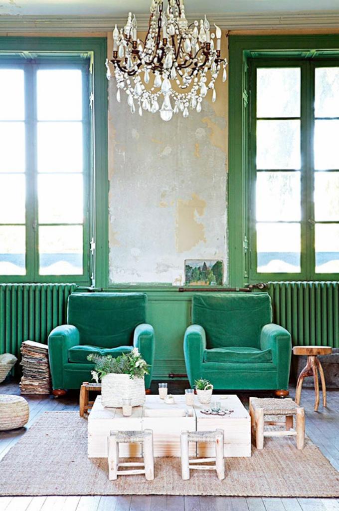 bohemiskt hem i grönt